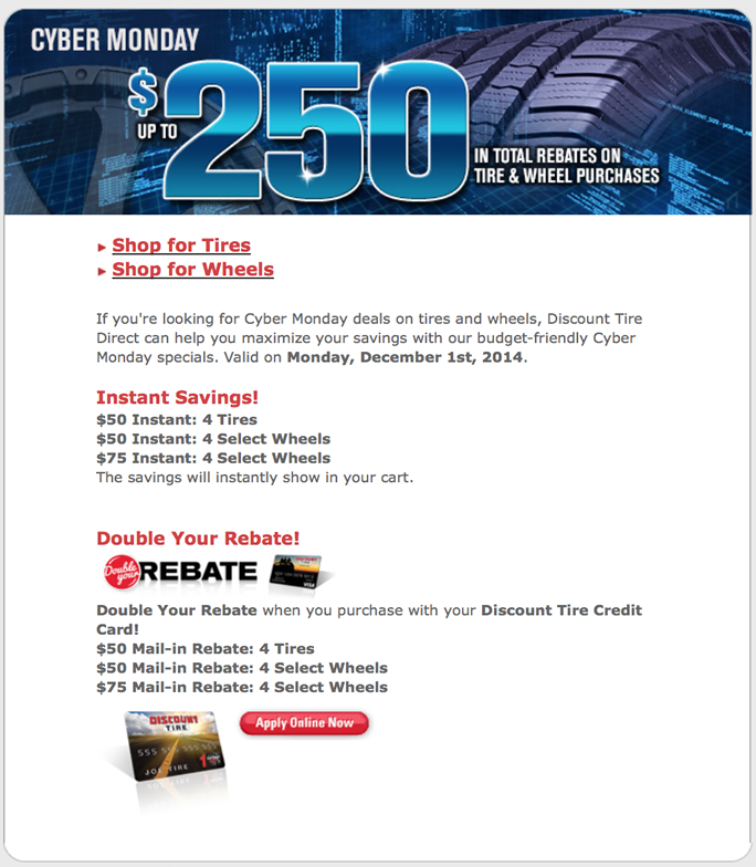 Discount Tire Cyber Monday 2014 Deals Amp Coupons
