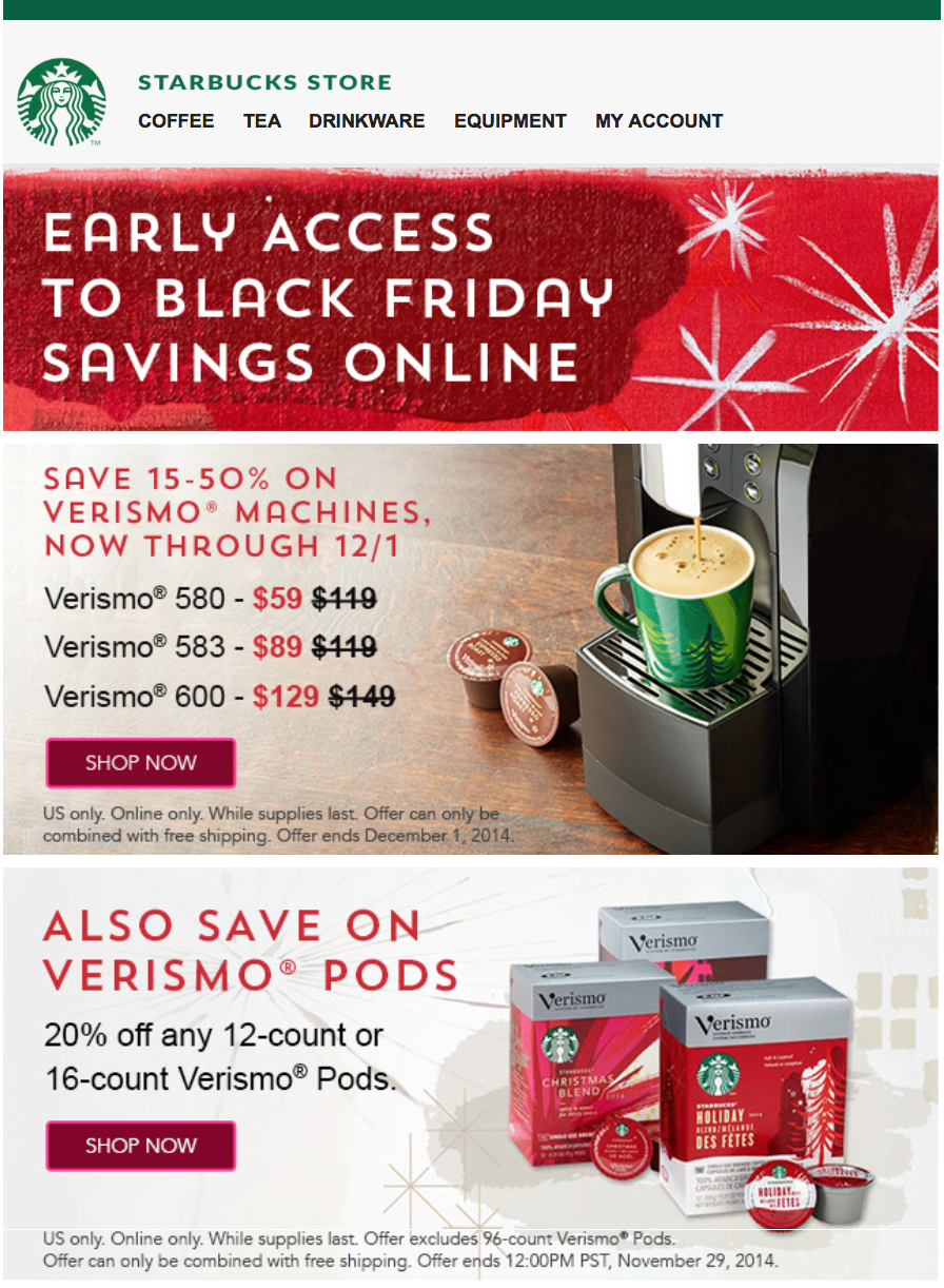 Starbucks Black Friday 2015 Sale, Hours, & Coffee Maker Deals Black Friday 2015