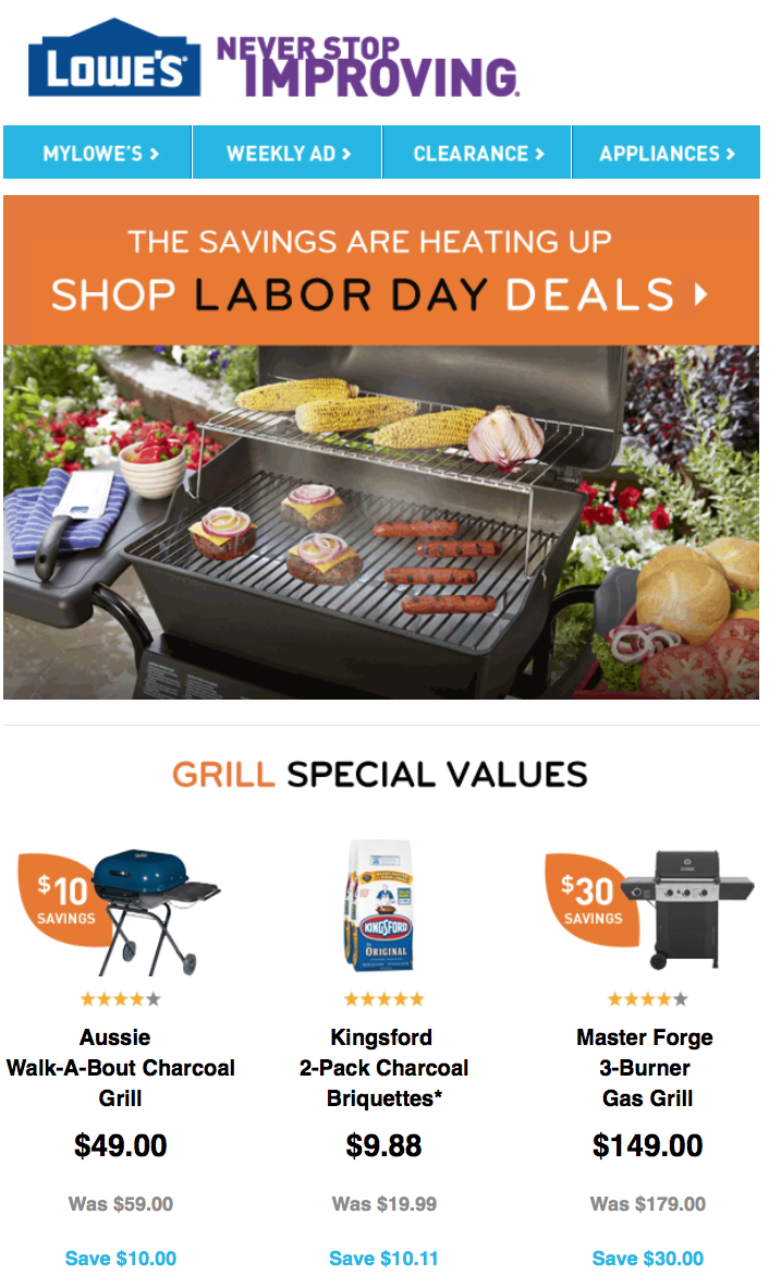 Lowe's Labor Day Sale In Previous Years. In years past, Lowe's has offered anywhere between % off select merchandise for Labor Day. After a long summer, Labor Day signifies the end of home improvement stores' busy season.