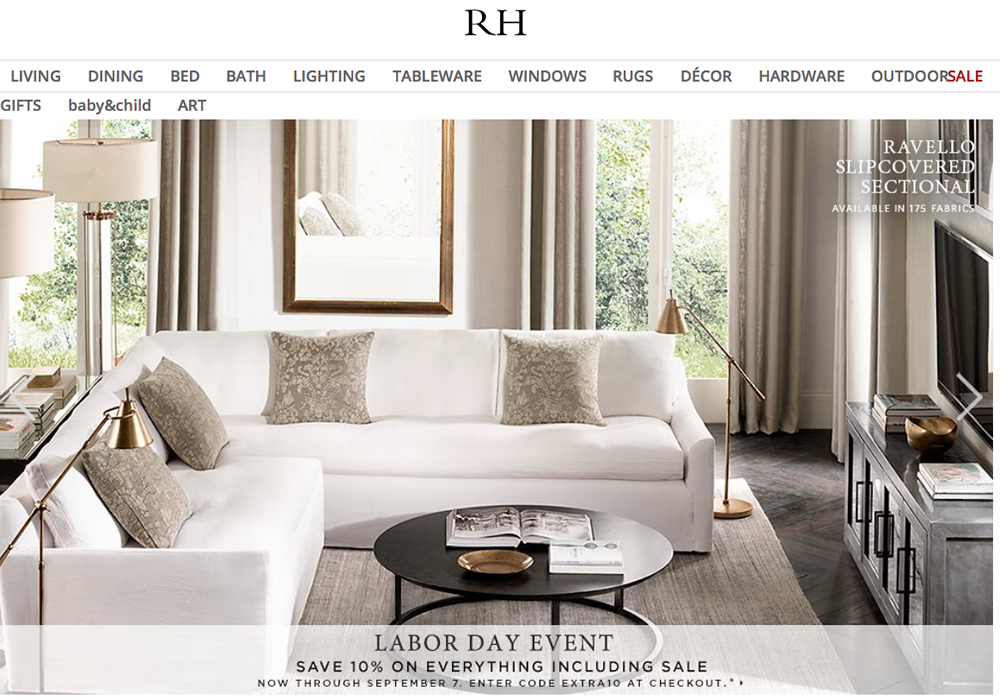 Restoration hardware labor day sale 2017 blacker friday for Restoration hardware online shopping