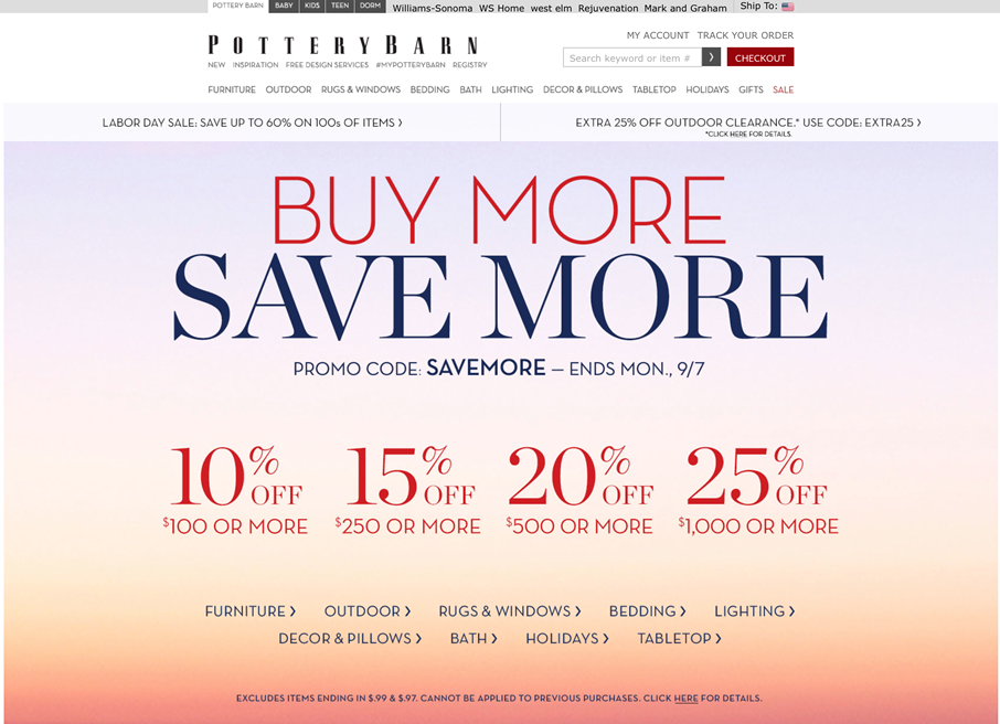 pottery barn labor day sale 2015 page 1. Black Bedroom Furniture Sets. Home Design Ideas