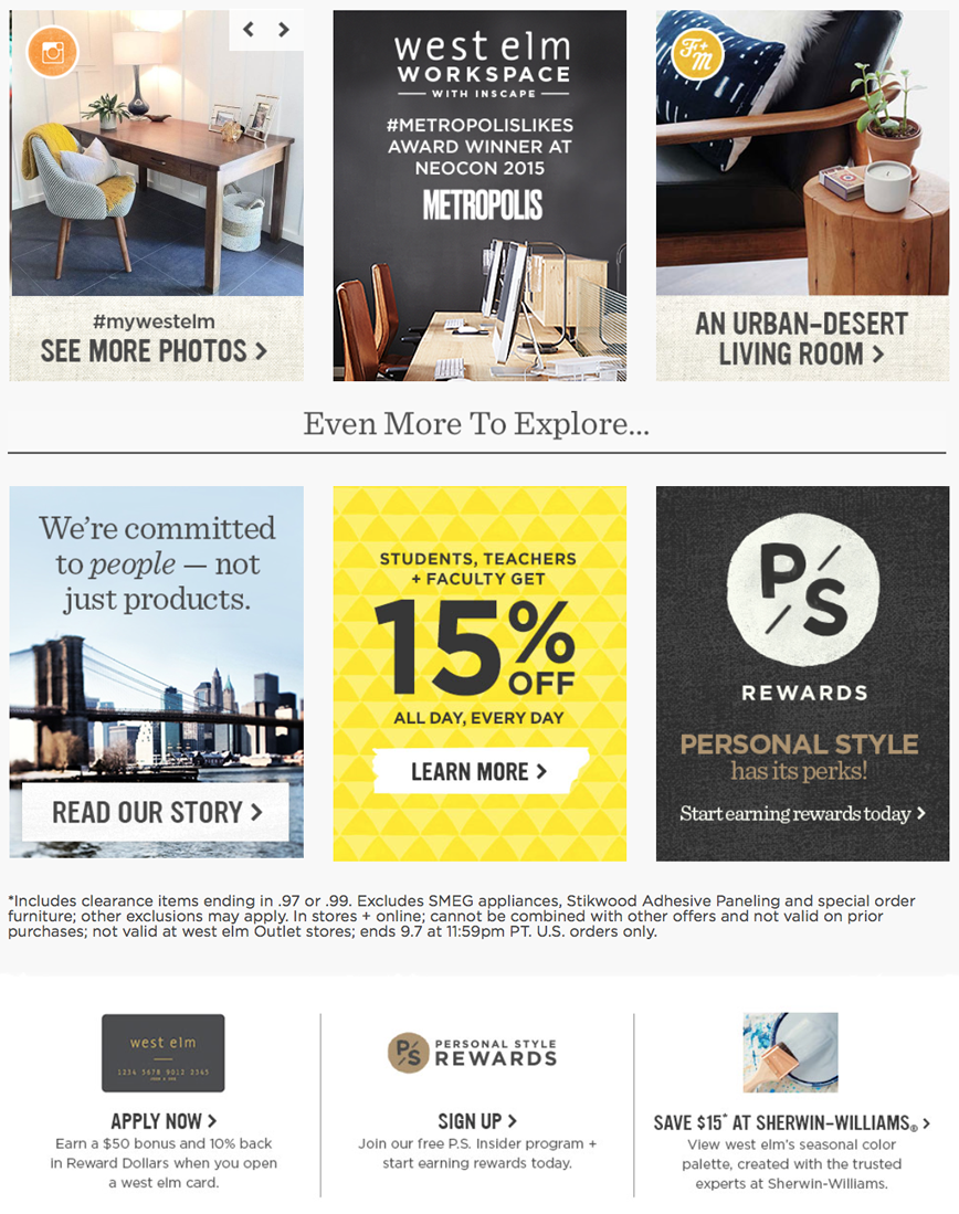 West elm s labor day 2016 weekend sale for Labor day weekend furniture sales