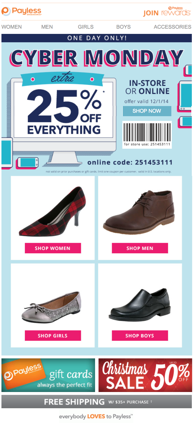 payless shoes cyber monday 2015 sale deals coupons