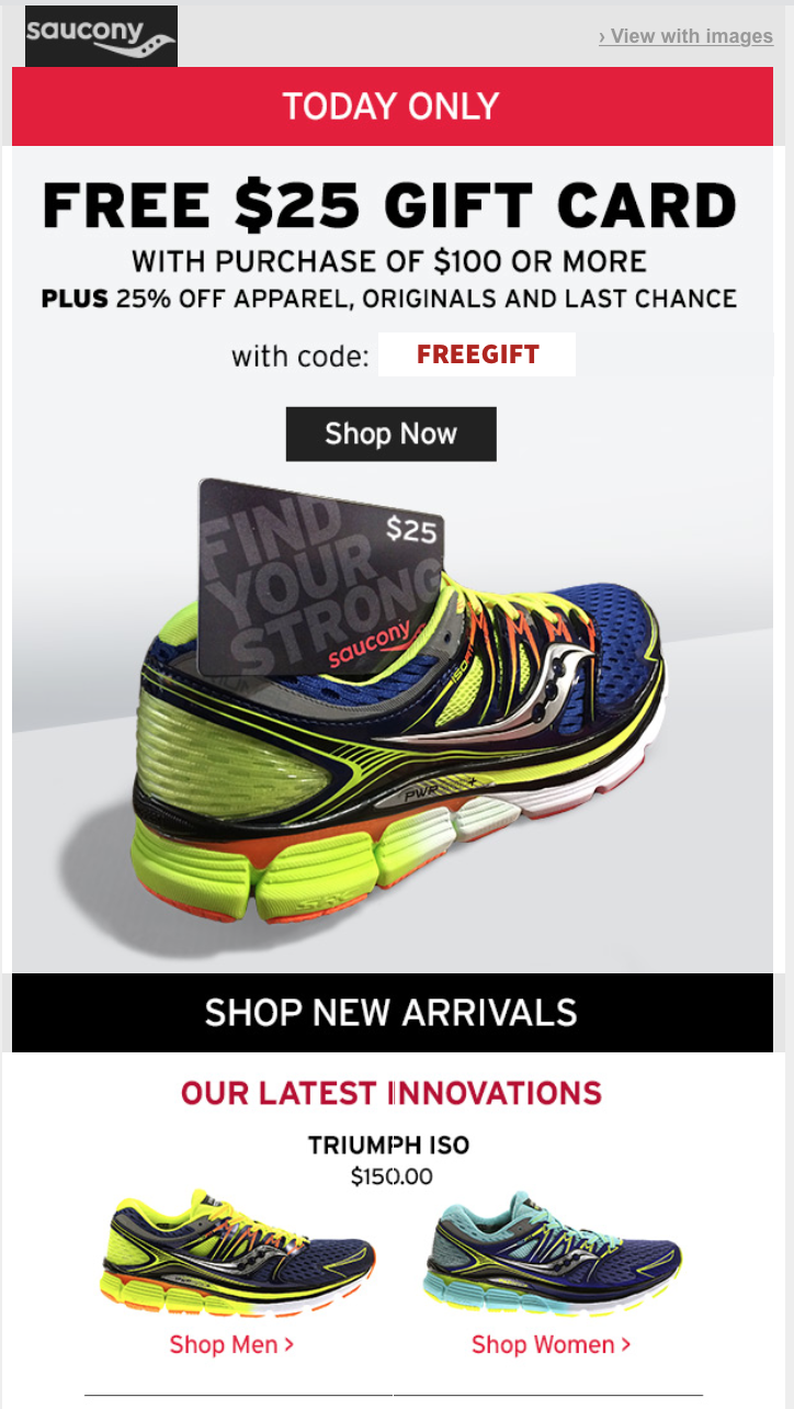 Saucony Sale Running Gear. Don't miss your last chance for Saucony shoes and apparel at great prices. Stock up on your favorite style with Saucony's sale running gear. With discounts on last season's models, you're sure to save on your last chance to get these shoes and clothes.
