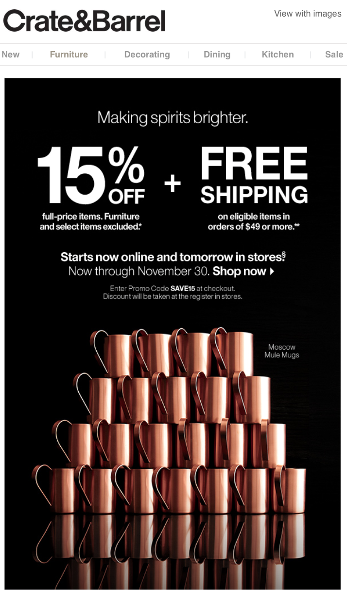 Crate Amp Barrel After Christmas Sale 2015 Amp New Year Deals