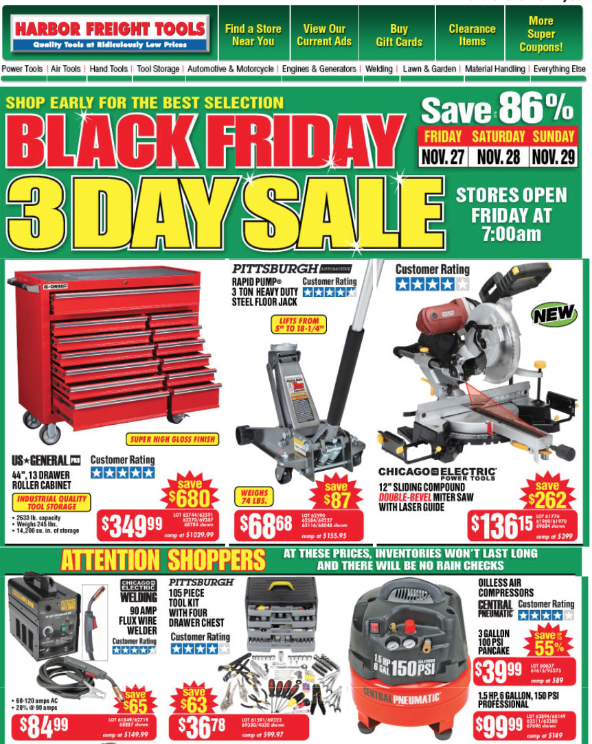 Harbor Freight Tools Black Friday 2015 Sales Amp Ad Scan
