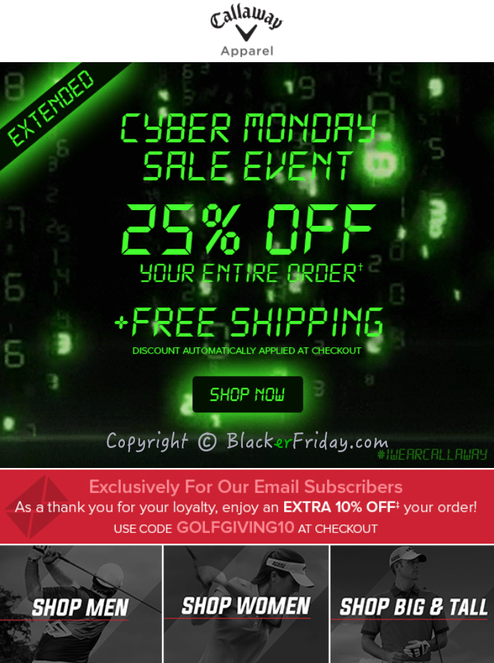 callaway cyber monday 2017 deals golf apparel sale. Black Bedroom Furniture Sets. Home Design Ideas