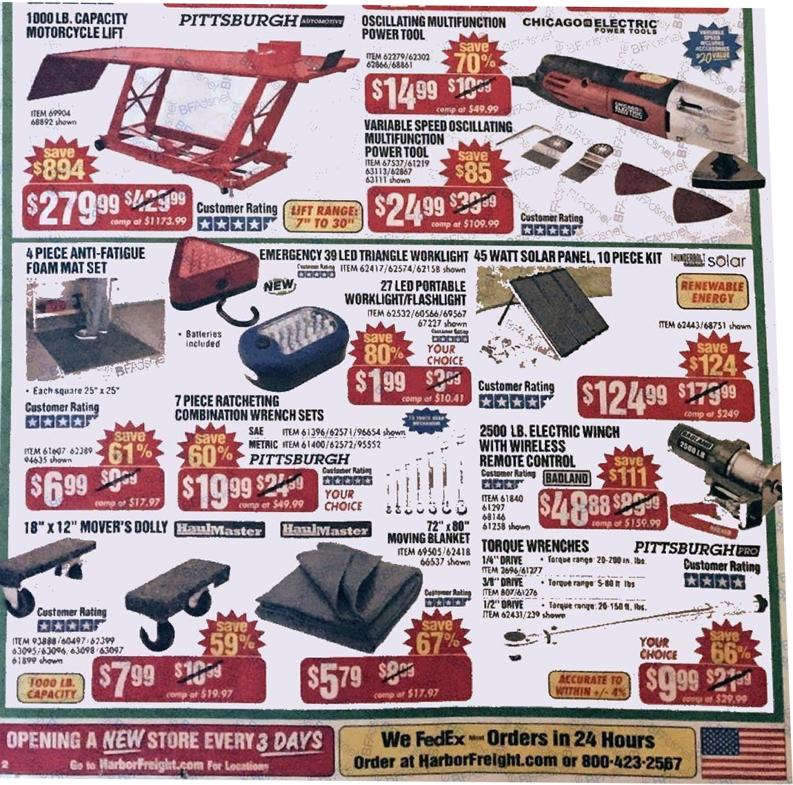 At Harbor Freight Tools you'll find one of the largest selections of brand-name tools, plus many items you just can't find elsewhere. Make Harbor Freight Tools your first stop for the best prices on: Chicago Electric, Pittsburgh, Central Machinery, Central Hydraulic, and Central Forge.