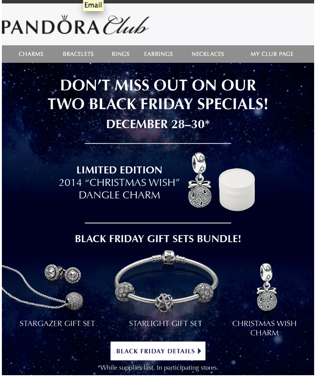 pandora black friday 2018 sale holiday charms blacker