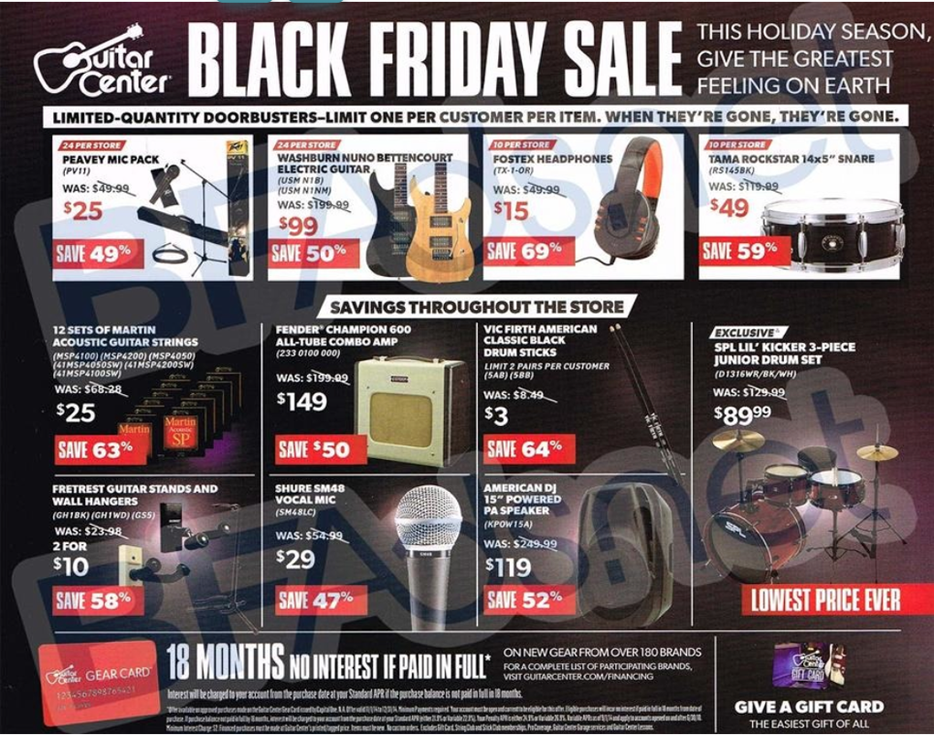 guitar center black friday 2019 ad sale. Black Bedroom Furniture Sets. Home Design Ideas