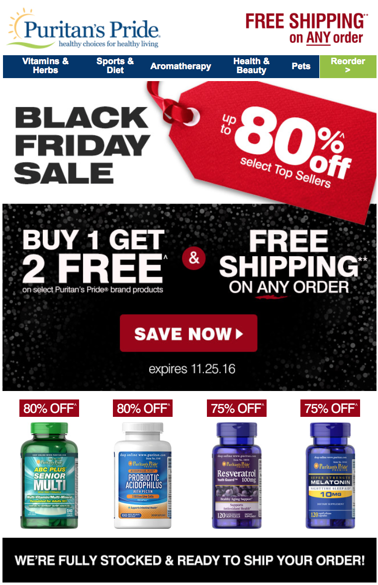 puritan 39 s pride black friday 2018 sale vitamin deals blacker friday. Black Bedroom Furniture Sets. Home Design Ideas