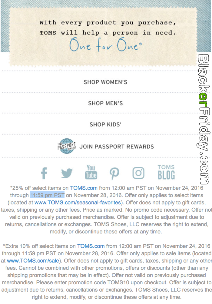 TOMS Black Friday 2020 Sale - What to