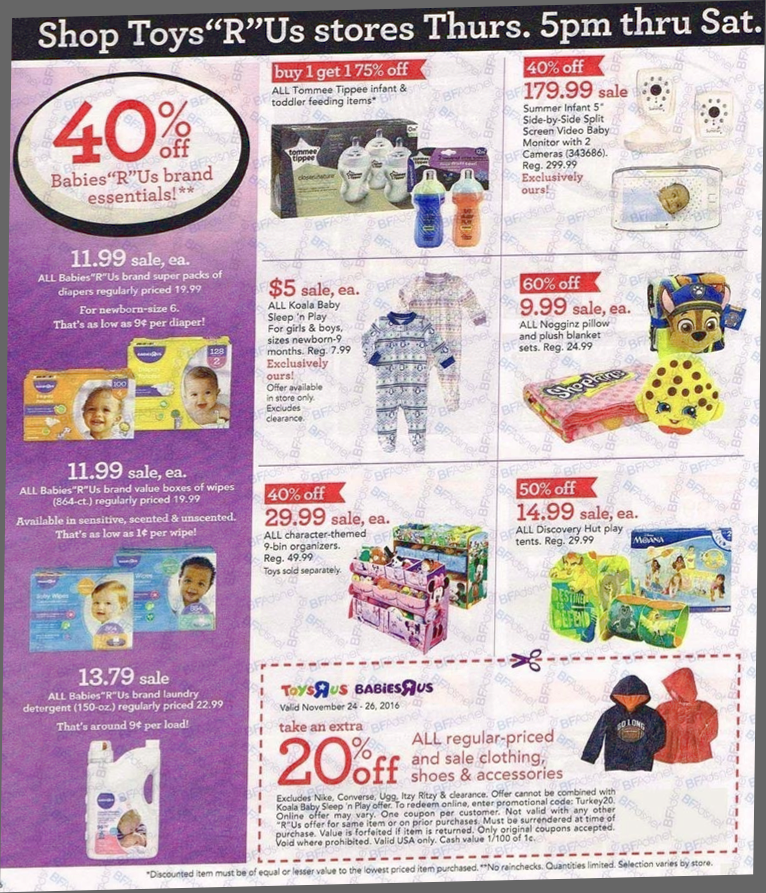 Black friday ad for toys r us - Party & Occasions Patio & Garden Pets Pharmacy Photo Center Sports & Outdoors Toys Video Games Find the best Black Friday deals, ad scans, promo codes and coupons from every store, and find the best deals on your favorite gifts including.
