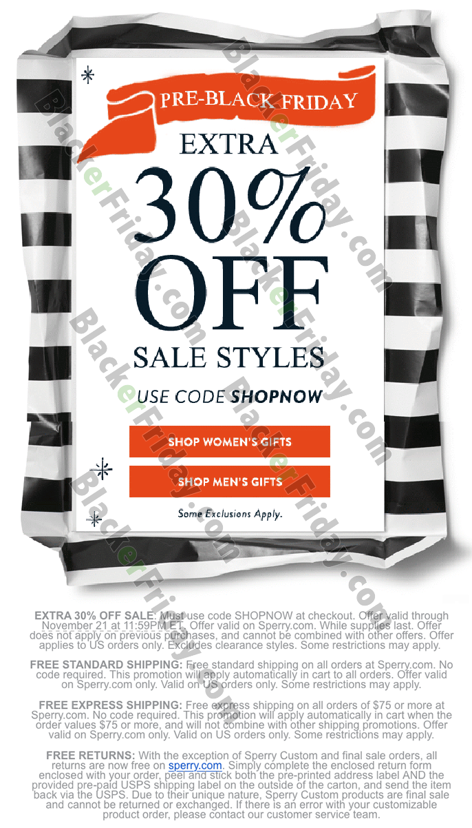 Sperry Black Friday 2020 Sale - What to